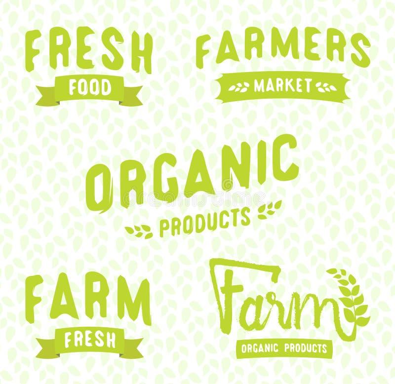 Marktlogoschablonenvektor-Gegenstandsatz des Landwirts lizenzfreie abbildung