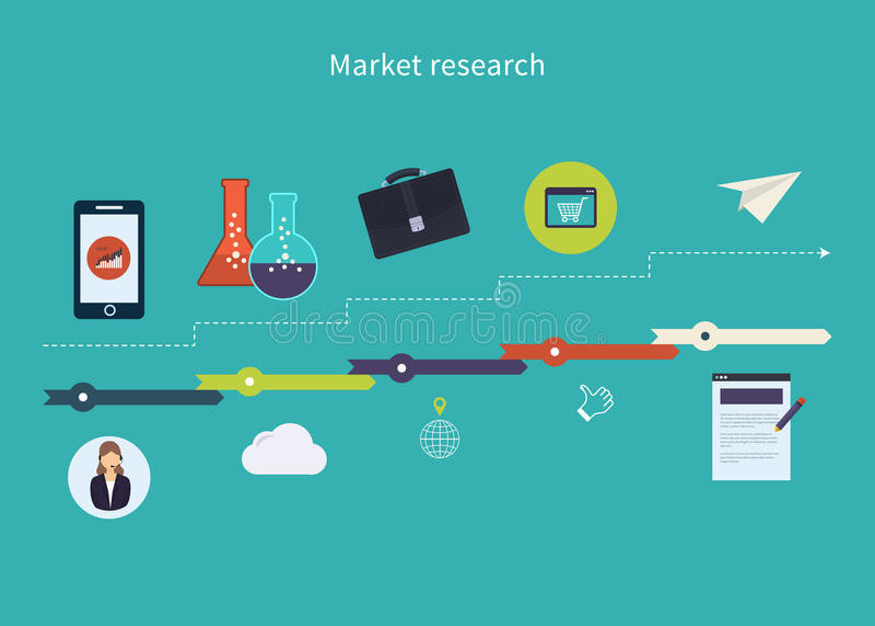Marktonderzoekpictogrammen stock illustratie