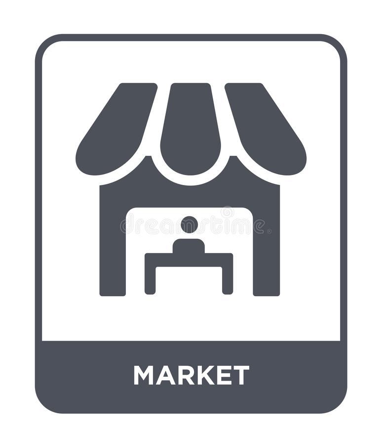 marktpictogram in in ontwerpstijl Marktpictogram op witte achtergrond wordt geïsoleerd die eenvoudige en moderne vlakke symbool v vector illustratie