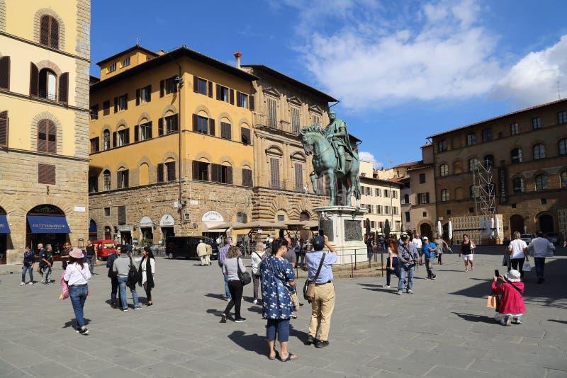 Marktplatz della Signoria in Florenz, Italien stockfotos
