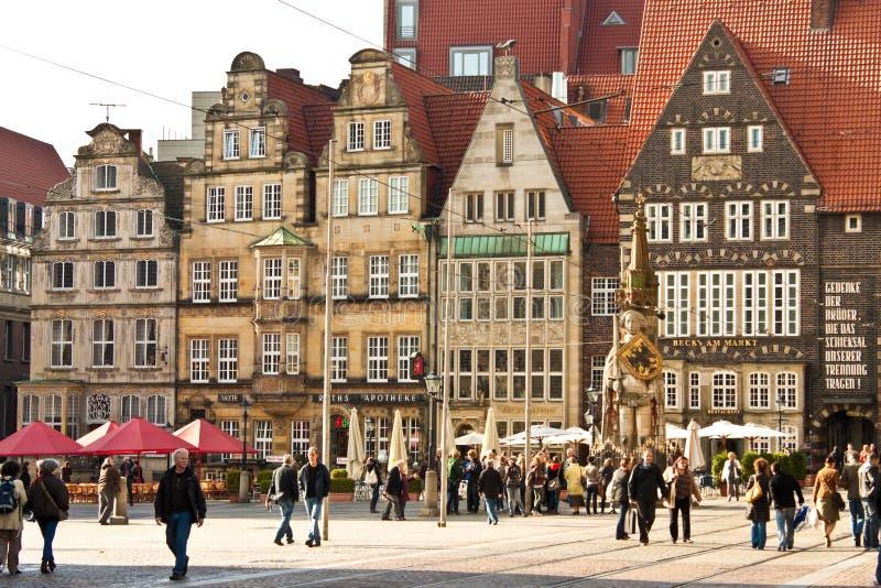 Marktplatz (marknadsfyrkant) i Bremen, Tyskland royaltyfri bild