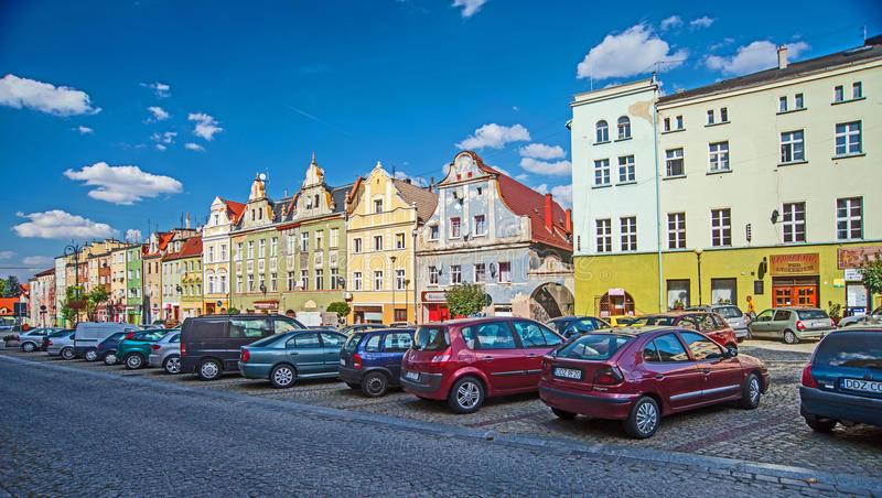 Marktplatz in Niemcza stockbilder