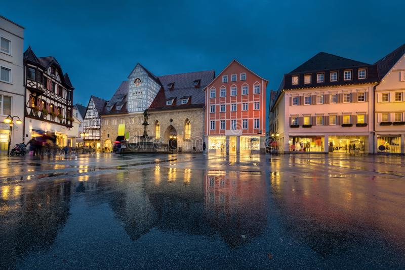 Marktplatz square in Reutlingen, Germany. Reutlingen, Germany. Marktplatz - main square of old town at dusk stock photography