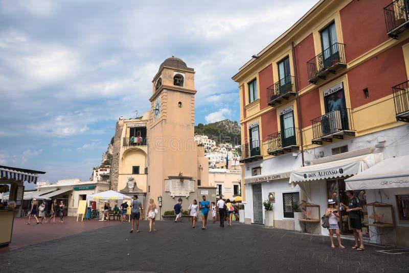 Marktplatz Umberto I auf Capri-Insel stockbild
