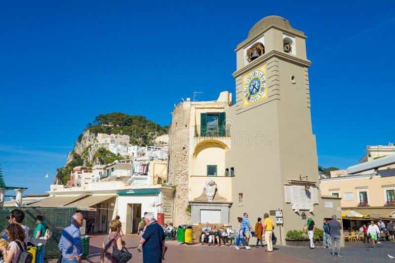 Marktplatz Umberto, weiß als La Piazzetta, Capri-Insel, Italien lizenzfreies stockbild