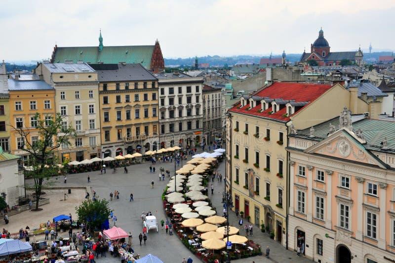 Marktplatz von Krakau, Polen stockbilder
