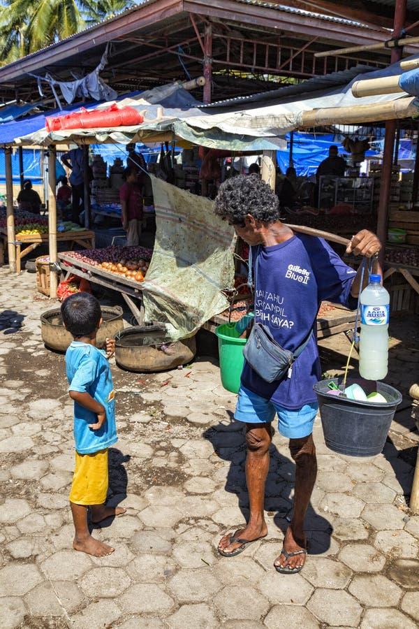 Marktscène in Maumere, Flores royalty-vrije stock foto's