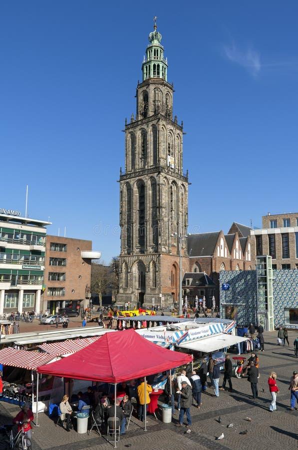 Markttag auf Grote Markt in Groningen stockbild