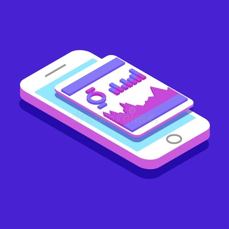 Markttendensanalyse van Smartphone met Grafieken in Isometrische Vlakke Ontwerpstijl vector illustratie