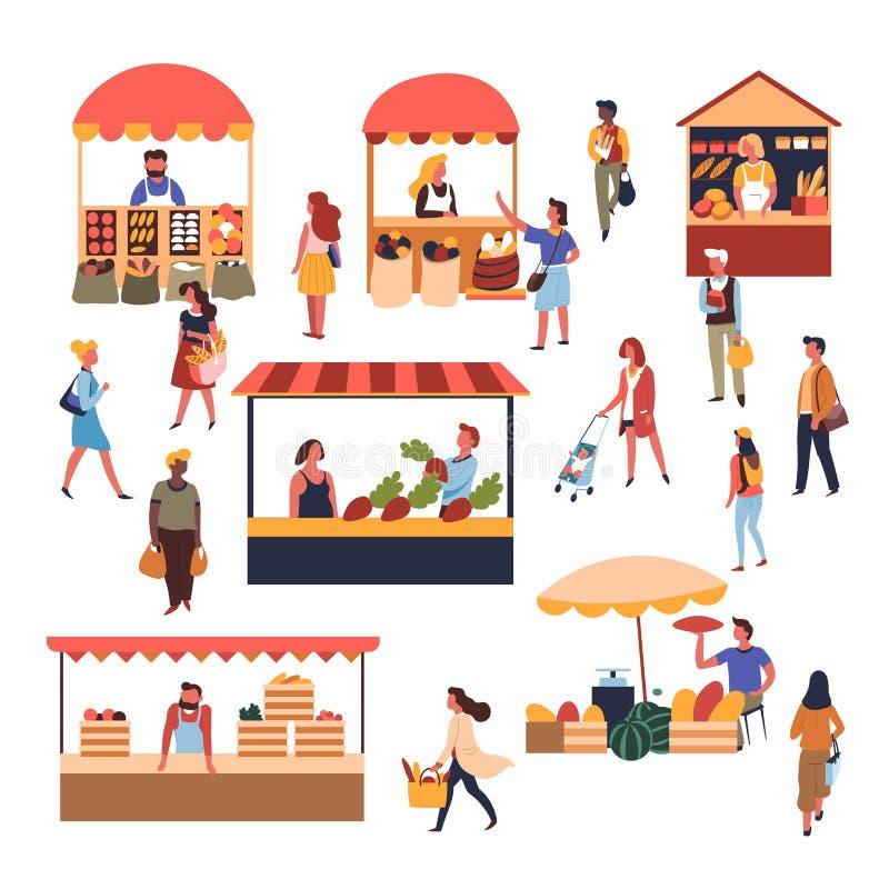 Markttenten en van tellersvruchten en groenten gebakjeverkopers en klanten vector illustratie