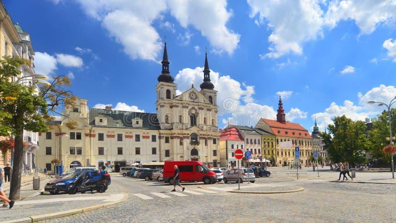 Marktvierkant in Jihlava, Tsjechische Republiek royalty-vrije stock afbeeldingen