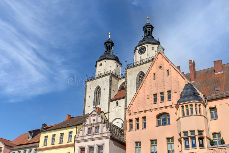 Marktvierkant in Wittenberg stock afbeelding