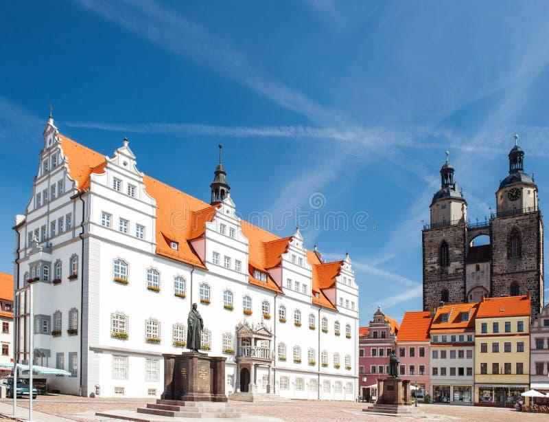 Marktvierkant in Wittenberg-Monument van Martin Luther royalty-vrije stock foto's