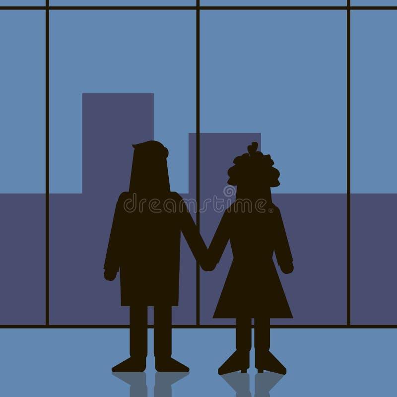 Marla Singer en Tyler Durden houden hun handen en bekijken door het venster op het Stadseind van de Club van de filmstrijd royalty-vrije illustratie