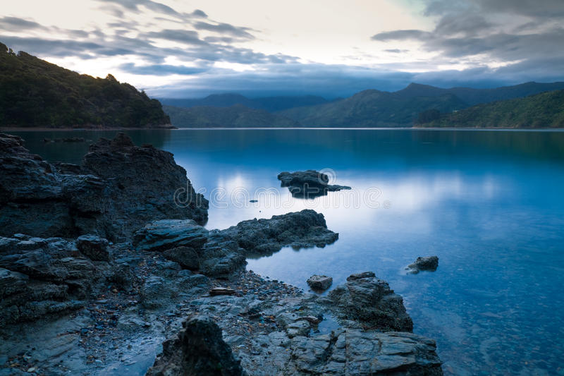 Download Marlborough Sounds stock photo. Image of fiord, dark - 14168818