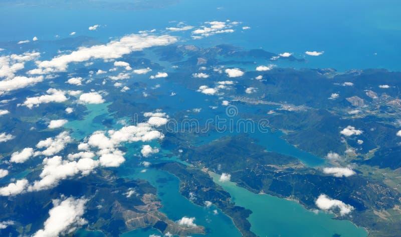 Marlborough Töne u. Nelson, Antenne, Neuseeland lizenzfreie stockfotos
