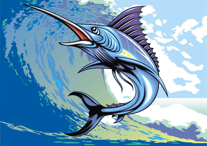 Marlijnvissen stock illustratie