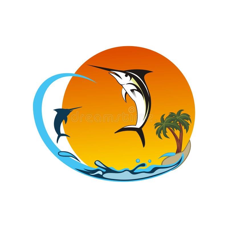 Marlijnvissen het vliegen ontwerpvector royalty-vrije illustratie