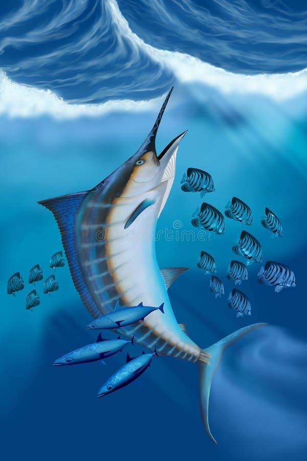 Marlin Fish stock illustrationer