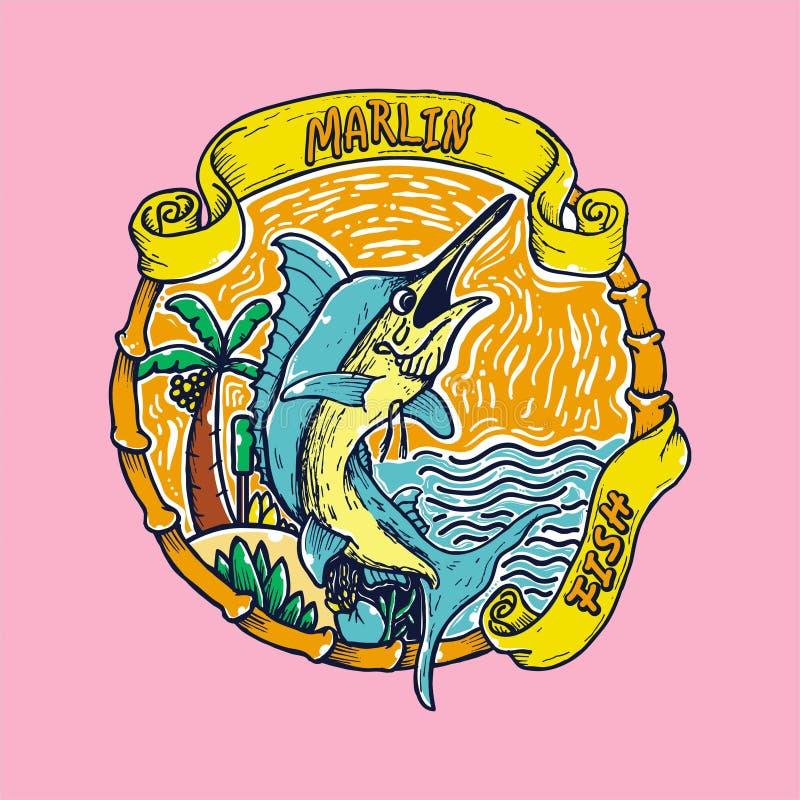 Marlin Fish no vetor da praia ilustração royalty free