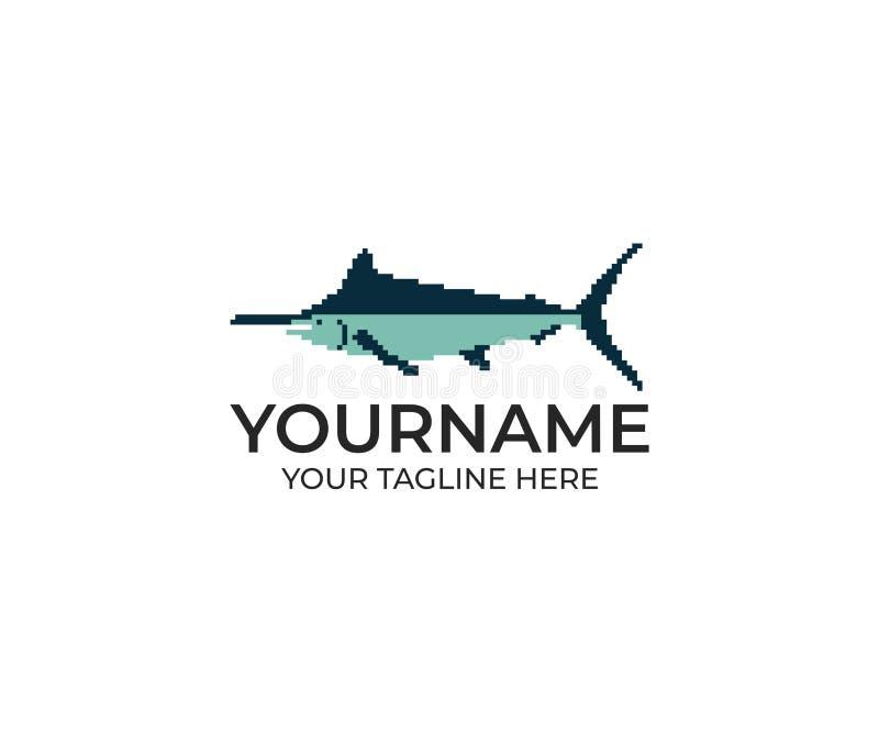Marlin Fish Pixel Logo Template Billfishvektordesign royaltyfri illustrationer