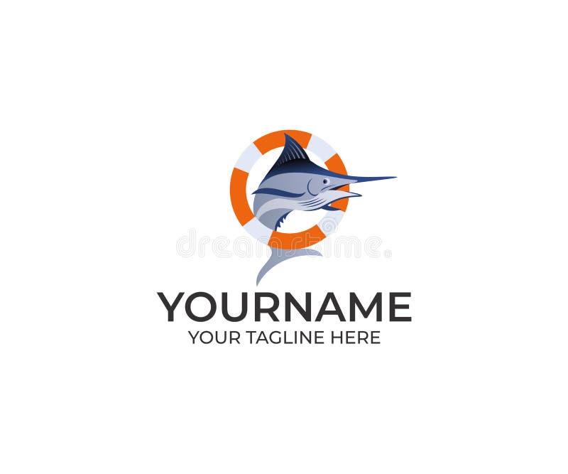 Marlin Fish y salvavidas Logo Template Vector de la paparda stock de ilustración