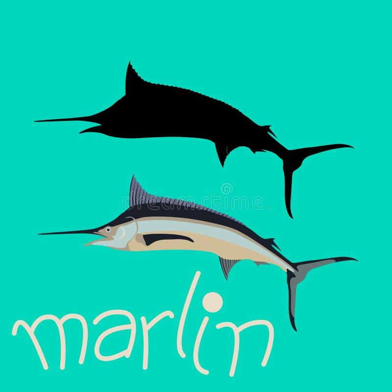 marlin mieszkania stylu rybi wektorowy ilustracyjny czerń ilustracja wektor