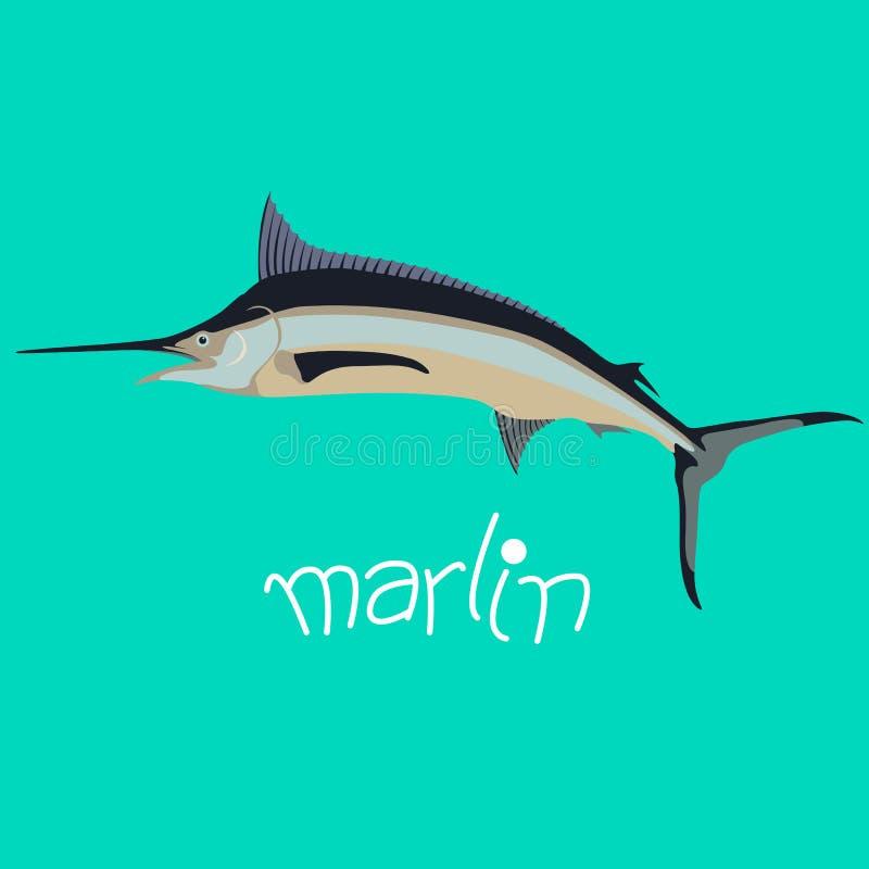 marlin mieszkania stylu rybi wektorowy ilustracyjny profil royalty ilustracja