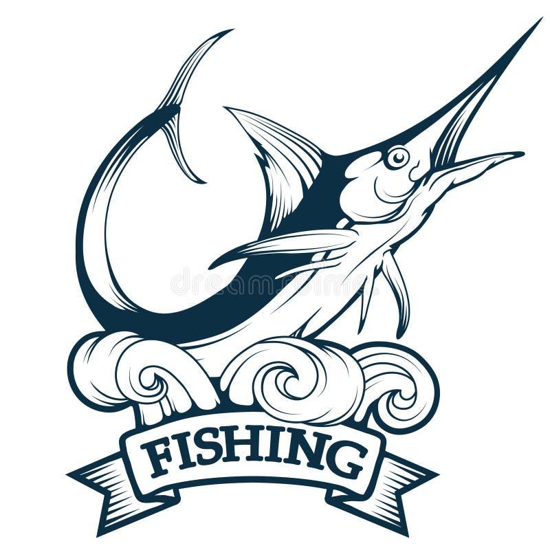 Marlin odznaka, błękitnego marlin połowu logo, marlin logo, połowu emblemat, kordzik ryby logo ilustracji