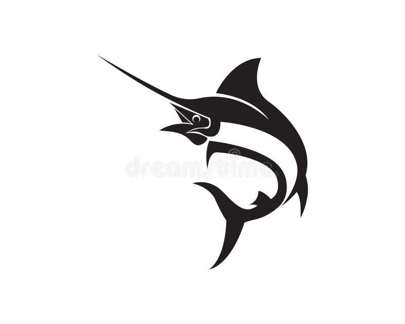 Marlin skacze rybią loga i symboli/lów ikonę royalty ilustracja