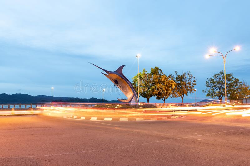 Marlin Statue In Kota Kinabalu arkivbilder