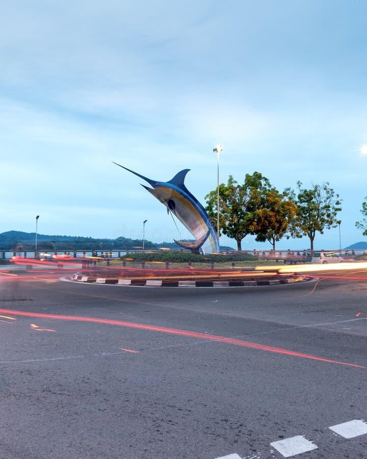 Marlin Statue In Kota Kinabalu royaltyfri bild