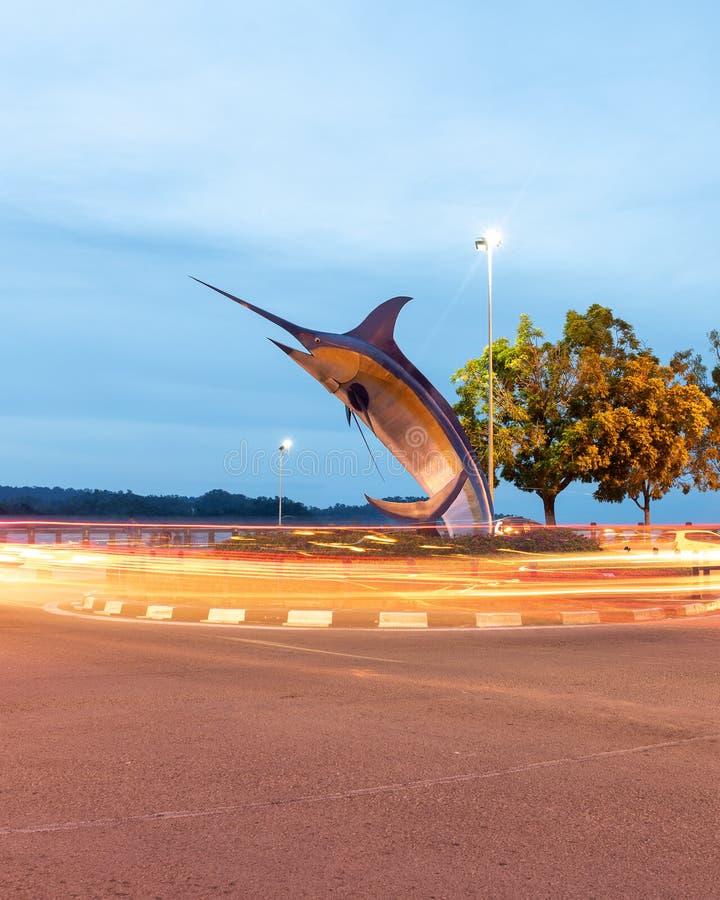 Marlin Statue In Kota Kinabalu royaltyfria bilder