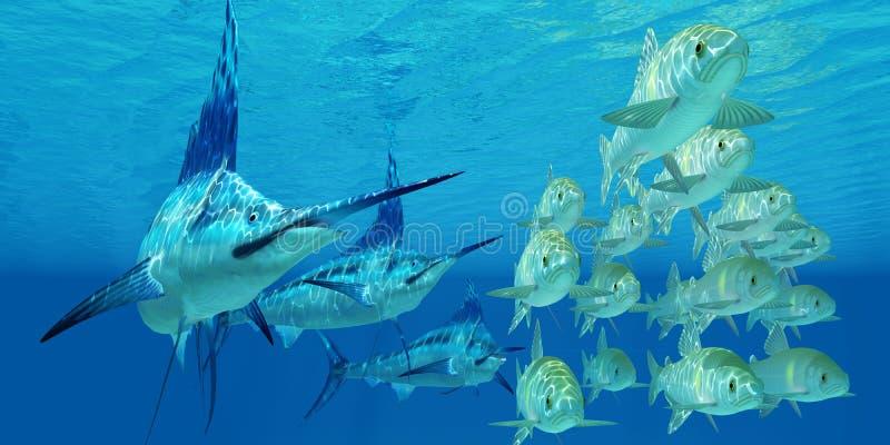 MarlinattackAyu fisk vektor illustrationer