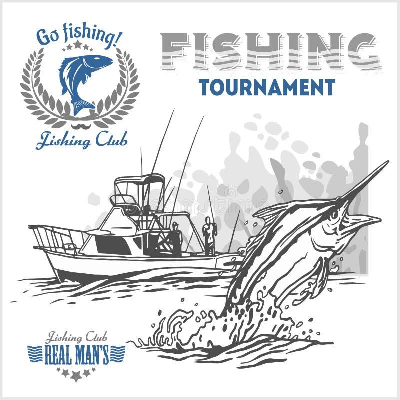Marlinevissen in golven op retro grungeachtergrond - verwezenlijkingsembleem, embleem, visserijclubs royalty-vrije illustratie