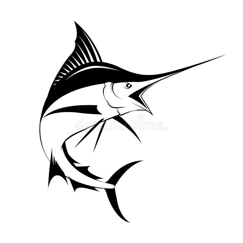 Marlinfisk, vektor vektor illustrationer