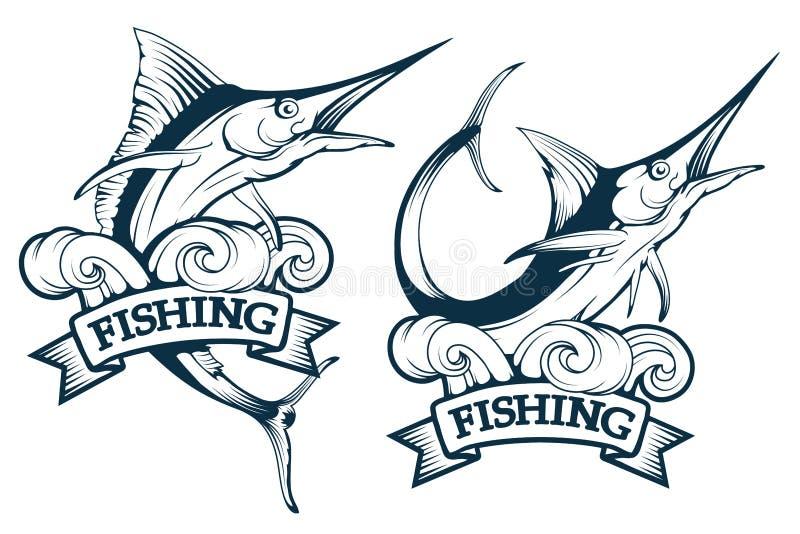 Marlinfiskuppsättning Fisken för den blåa marlinen i olikt poserar, emblemet för marlinfiskfiske, logo för svärdfisk royaltyfri illustrationer