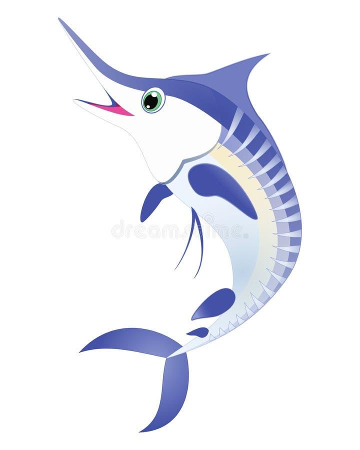 Marlinfiskvektor För marlinhav för blått randigt tecken för tecknad film för djur Svärdfisk för hav för havsliv djur, billfish, i vektor illustrationer