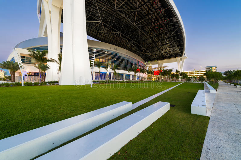 Marlins Park at dusk. MIAMI, FL - APRIL 9: View of the new Marlins Park, construction of the stadium was completed in March 2012, just in time for Major League