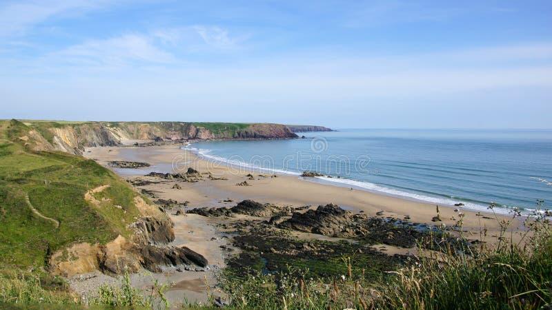 Marloes versandet Strandüberblick in Pembrokeshire stockbilder