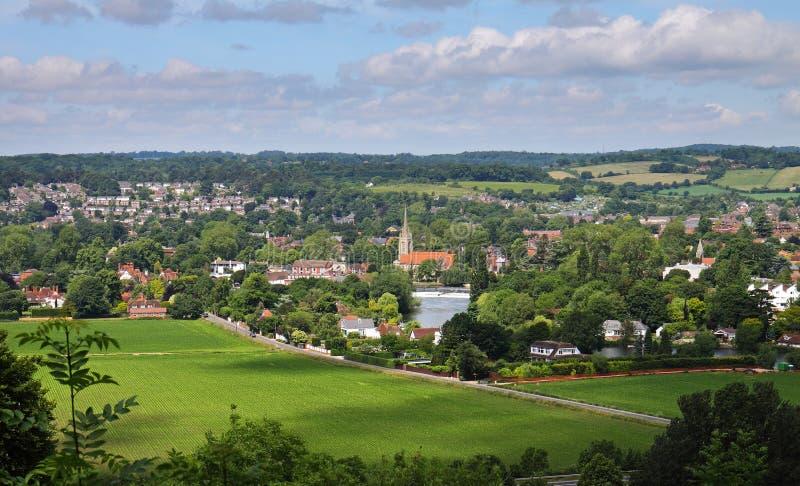 Marlow stad på flodThemsen UK arkivfoto