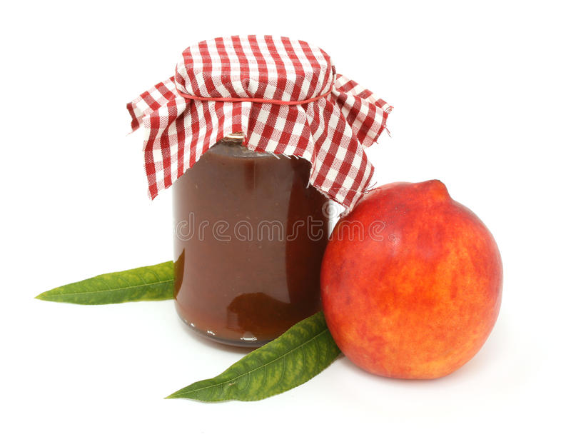 Marmalade. Peach marmalade isolated on white stock images