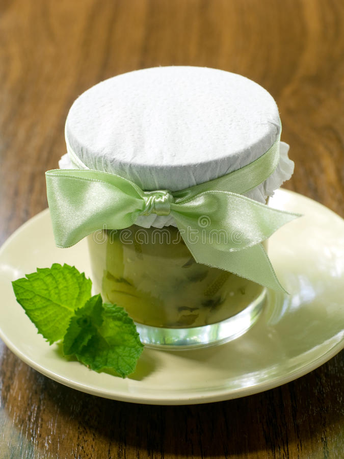 Marmalade. Apple-Mint Marmalade in a Jar in outside royalty free stock photos