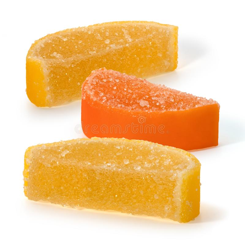 Marmalade candy and in the form of slices of lemon and orange stock photos