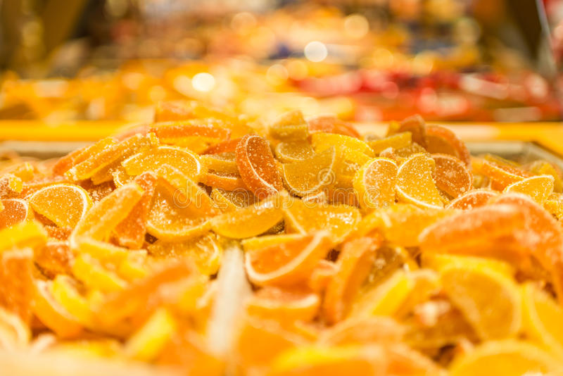 Marmalade on a shop. Marmalade slices on a shop window royalty free stock photos
