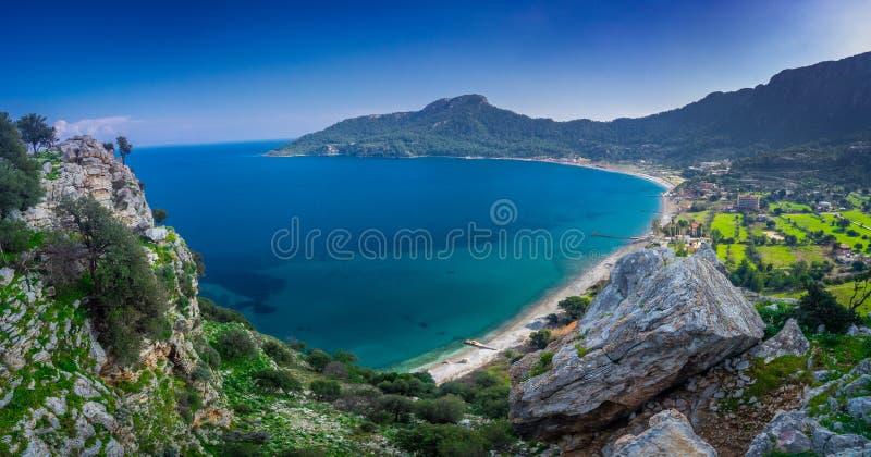 Marmaris bay, Mugla, Turkey. Kumlubuk beach near village landscape from Amos Ancient city. Beauty in nature. Lycian way. Aerial view stock photo