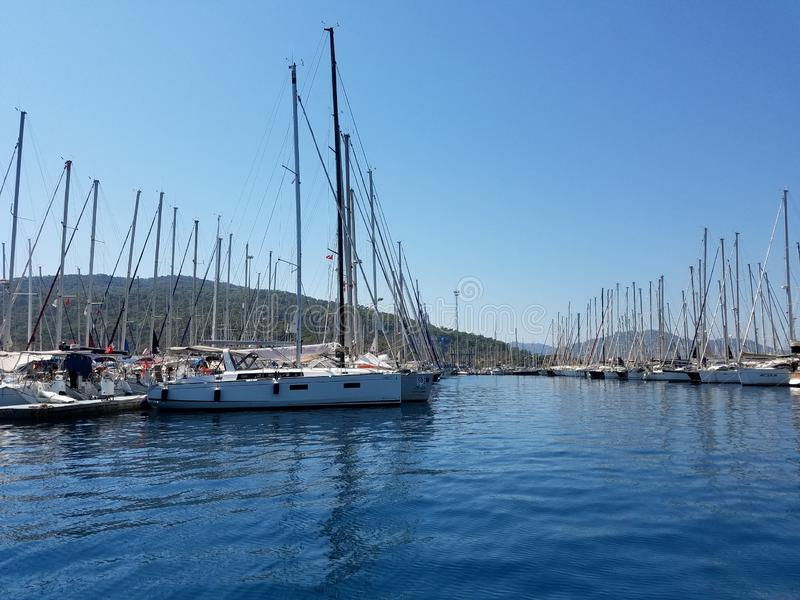 Marmaris yachtmarina royaltyfria bilder