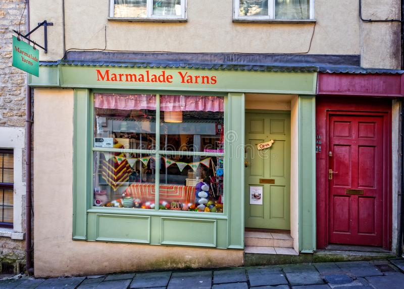 Marmeladen-Garn-Shopfront in Frome, Somerset stockfotos