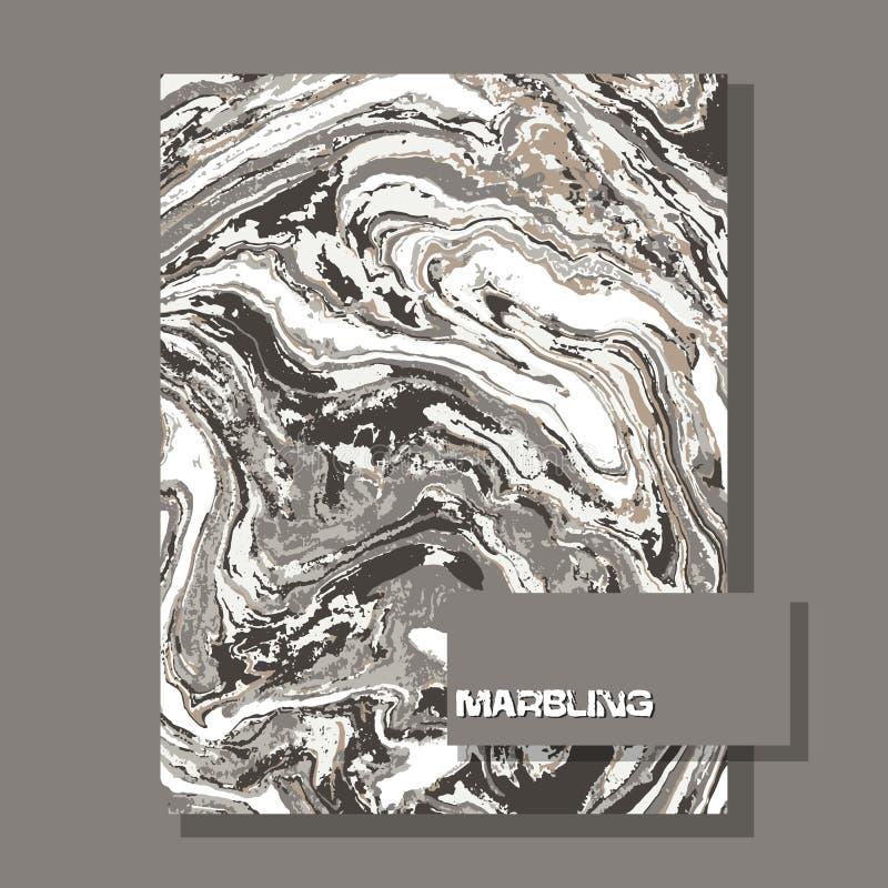 Marmer grijze aard abstracte achtergrond Vloeibaar marmeren patroon Vector vloeibare textuur stock illustratie