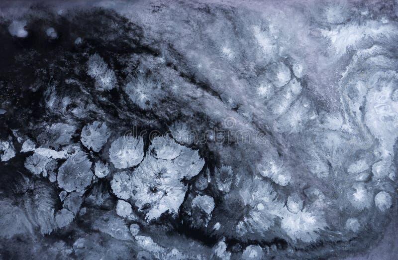 Marmeren abstracte acrylachtergrond De blauwe textuur van het marmeringskunstwerk Het patroon van de agaatrimpeling stock afbeeldingen